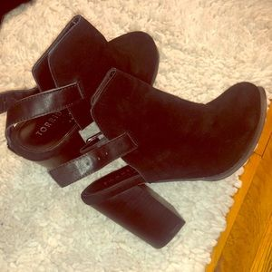 Black suede and leather booties